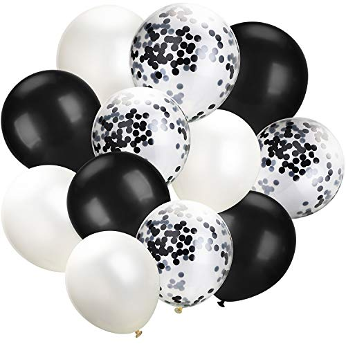 White Black Confetti Balloons 100 Pack 12 Inch Party Balloons White Black Latex Balloons for Weddings, Birthday Party, Bridal Shower, Party Decoration (White Black, 12 Inch)