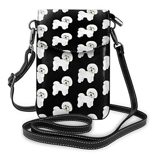 Leather Phone Purse, Bichon Frise Small Crossbody Bag Mini Cell Phone Pouch...
