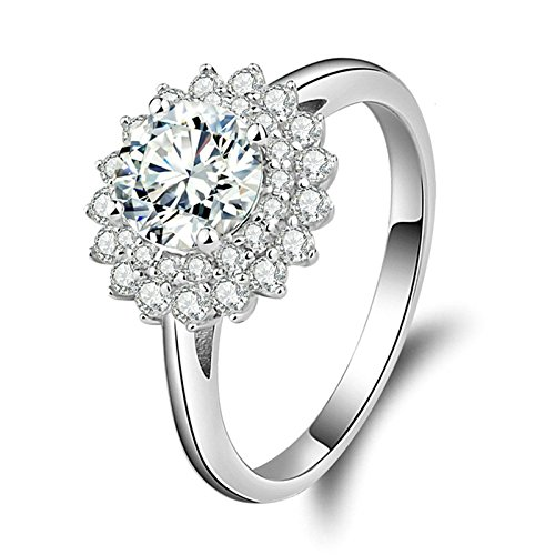 Beydodo Anello Solitario Valentino in Argento Anelli Fidanzamento Argento Anelli Fiore con Rotonda Brillante Diamante Taglia 10-27