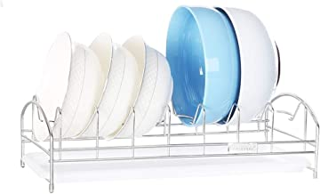 Tableware Storage, Drain Rack/Stainless Steel Dish Drainer Drying Rack Multifunction Kitchen Drying Dryer Tray Dish Drying Rack with Plastic Drip Tray
