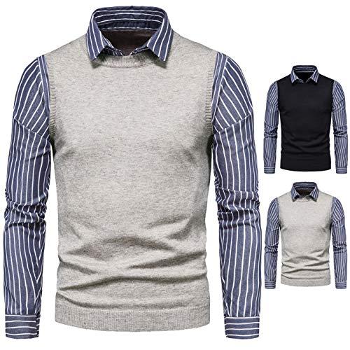 GXju- Furniture Suéter de Punto para Hombres, Camisa Azul de Manga Larga, Solapas, Uso de suéter Falso de Dos Piezas, suéter, Chaqueta, Ropa de Hombre Caliente-Regalos para familias y Amigos