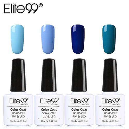 Elite99 Esmalte Semipermanente UV LED 4pcs Kit Uñas de Gel Pintauñas de Color Azul Esmalte de Uñas Soakoff Manicura - 031