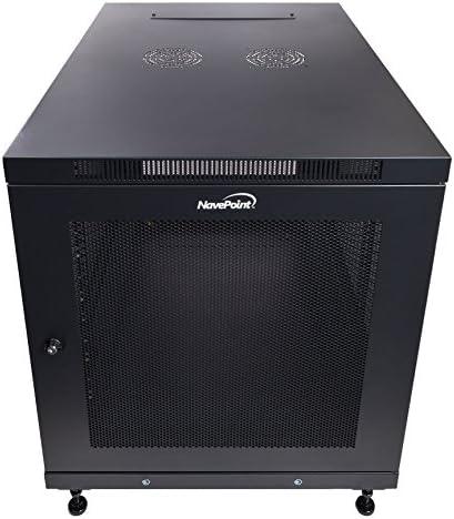 NavePoint 12U Rack Enclosure Server Cabinet, Mid Depth 33 Inch Deep, Perforated Door Lock and Casters Black