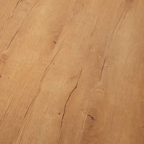 TRECOR Klick Vinylboden RIGID-SPC Designboden Massivdiele 5,0 mm stark mit 0,50 mm Nutzschicht - Sie kaufen 1 m² - WASSERFEST - Bitte gewünschte Menge eintragen (Vinylboden, Prestige Eiche Natur)