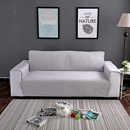HUANZI Funda Cubre Sofá con Correa elástica Funda de Felpa Funda de sofá Color sólido Lavable Protector de Sofá para Mascotas Gatos Perros y Niños,A,threeseats