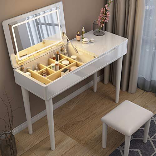 Schminktische Mit LED-Lichtspiegel -Schlafzimmer Make-up Schreibtisch Waschtischset Mit Gepolstertem Hocker Glamouröses Geschenk Für Mädchen (Walnuss, Reinweiß, Holzfarbe)