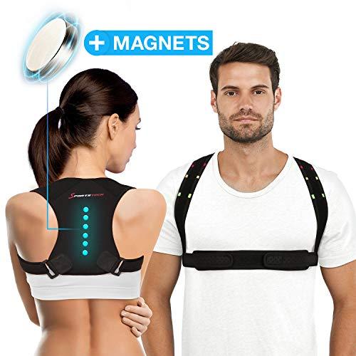 Sportstech | Corrector de espalda RTX100 con correa de velcro magnética...