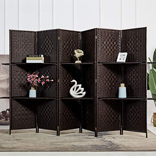 RHF 6 ft.Tall-Extra Wide-Diamond Weave Fiber 6 Panels Room Divider/6 Panels Screen Folding Privacy Partition Wall With 2 Display Shelves Room divider with Shelves Freestanding 2 Shelves 6 Panel