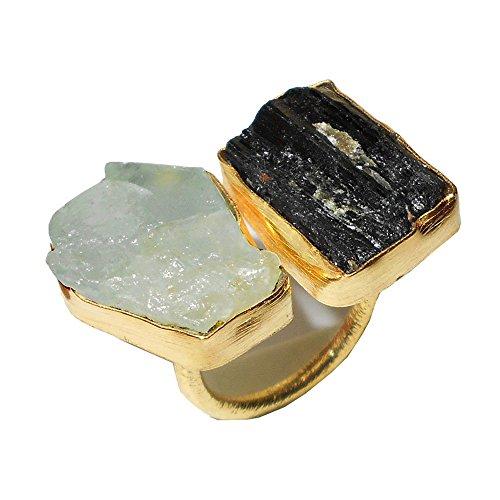 Bhagat Jewels - Anillo apilable de doble piedra con turmalina negra y aguamarina, chapado en oro de 18 quilates