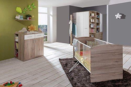 lifestyle4living Babyzimmer, Kinderzimmer, Komplett-Set, Babymöbel, Babybett, Wickelkommode, Babyausstattung, Einrichtung, Komplett, Schrank, San Remo-Eiche, alpinweiß