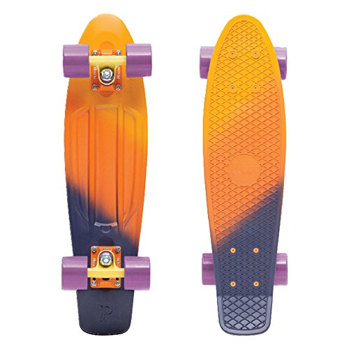 Penny Complete 22'' Fades Series Skateboard, Yellow/Orange/Purple (Dusk), 22