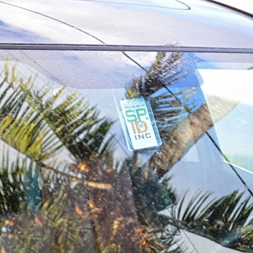 5 Pack - Clear Parking Permit Holder - Durable Vertical Parking Lot Pass Rear View Mirror Hanger - for Small Stickers and Passes - for Car or Truck by Specialist ID Photo #6