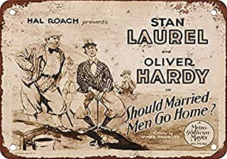 Metal Sign 8x12 Inches 1928 Laurel & Hardy Golf Movie Vintage Look Reproduction Metal Tin Sign 8X12 Inches