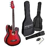 ACUSTIKA F330E Guitarra electroacústica – Guitarra electroacústica de 97 x 36 x 9,5 cm de madera – 6 cuerdas de acero, color rojo Burst.
