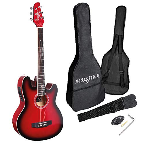 ACUSTIKA F330E Guitarra electroacústica – Guitarra electroacústica tamaño 97 x 36 x 9,5 cm de madera – 6 cuerdas de acero