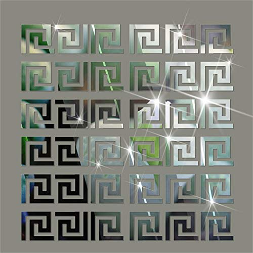 Hippicity Acryl-Spiegel-Wandaufkleber, geometrisches griechisches Muster, Acryl-Kunststoff, Spiegel, DIY, Wandkunst, Dekoration, 10 x 10 cm silber