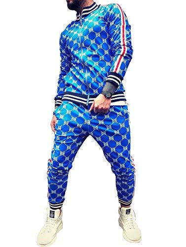 GUANYUA Traje de Deportes Juveniles, Trendy Impresión 3D Fitness Zipper Cardigan Casual Traje Hombres Blue-XL