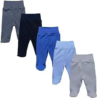 MEA BABY Unisex Baby Hose mit Fuß aus 100% Baumwolle im 5er Pack. Baby Stramplerhose mit Fuß. Babyhose mit Fuß Jungen Baby Hose mit Fuß Mädchen.