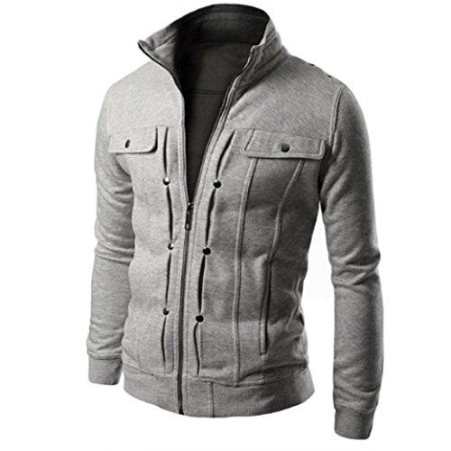 Herren Mantel,Fashion Men schlank designed Rever Cardigan warm Coat Langarm Jacket By Dragon868 (XXL, Grau)