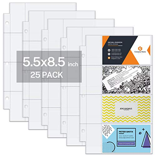 MaxGear Mini 25 Pack Heavyweight Business Card Holder Protector Pages, 5.5 x 8.5 inches Business Card Sleeve for 3 Ring Binder, Clear