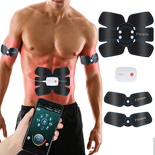 Tioamy Abs Electroestimulador Muscular Abdominales EMS Estimulador Control del Teléfono USB Trainer...