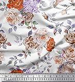 Soimoi Orange Satin Seide Stoff Blätter & Rose Flower