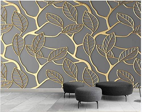Papel Pintado Hojas Doradas - Gris Papel pintado tejido no tejido Dormitorio Despacho Decoración murales decoración de paredes moderna 400 x 280 cm