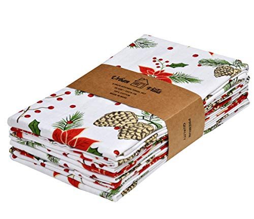Urban Villa Kitchen Towels,Pine Cone Print Multi Color, Premium Quality,100% Cotton Dish Towels,Mitered Corners,(Size: 20X30 Inch), Highly Absorbent Bar Towels & Tea Towels - (Set of 6)