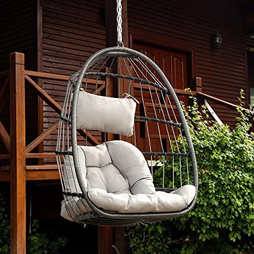 Brafab Wicker Rattan Hammock Egg Chair with...