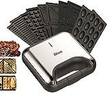 5in1 Sandwichmaker | | 800 Watt | 5 auswechselbare Platten | Teflonbeschichtung | Waffeleisen | Kontaktgrill | Elektrogrill | Multigrill | Nussbäcker | Zaubernuss Oreschki | Edelstahl