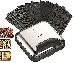 5in1 Sandwichmaker     800 Watt   5 auswechselbare Platten   Teflonbeschichtung   Waffeleisen   Kontaktgrill   Elektrogrill   Multigrill   Nussbäcker   Zaubernuss Oreschki   Edelstahl