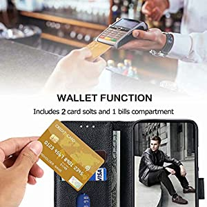 FMPCUON Funda para Xiaomi Redmi Note 9 5G,Flip Case Magnético Funda de Cuero PU Premium Folio Carcasa móviles Caso Libro para Redmi Note 9 5G (Negro)