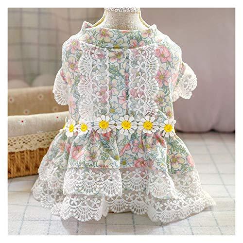 LIUCHANG Vestido de princesa de 6 colores con diseño floral de verano para perros pequeños (color: rosa floral, tamaño: S) liuchang20
