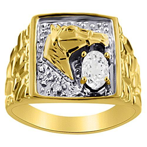 Plata de Ley Anillo De Diamante Y Topacio Blanco o Amarillo Chapado en oro pulsera de la cabeza de caballo