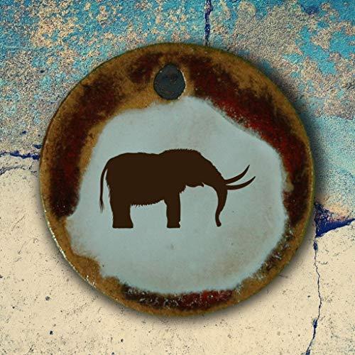 Echtes Kunsthandwerk: Toller Keramik Anhänger mit einem afrikanischen Elefanten; Zoo, Dickhäuter, Rüsseltier, Arbeitstier, Zugtier, Reittier