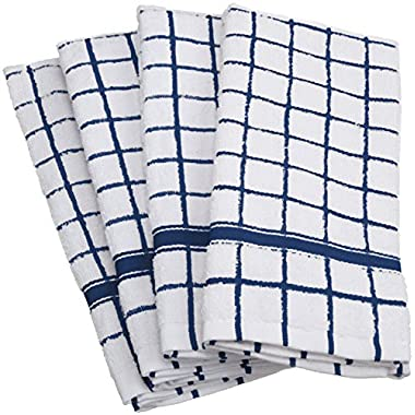 DII Cotton Terry Windowpane Dish Towels, 16 x 26  Set of 4, Machine Washable and Ultra Absorbent Kitchen Bar Towels-Nautical Blue