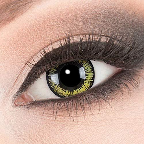 MeralenS Farbige gelbe Kontaktlinsen Crazy Kontaktlinsen Crazy Contact Lenses Yellow Lunatic Kontaktlinsen 1 Paar perfekt zu Fasching, Karneval und Halloween. Mit Kontaktlinsenbehälter