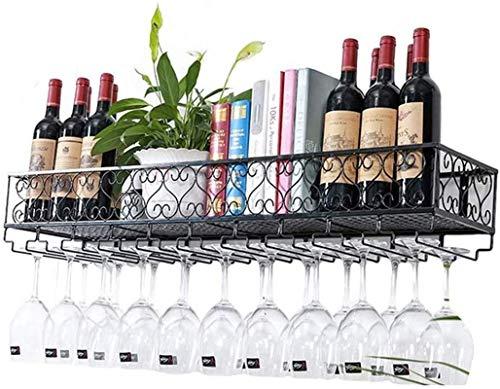 Estantería de vino Estantes de vino Almacenamiento de cocina Organización de vidrio de vino Tenedor de pared Hecho de metal |Estante de pared Estante de almacenamiento Monte en la pared |Titular de la