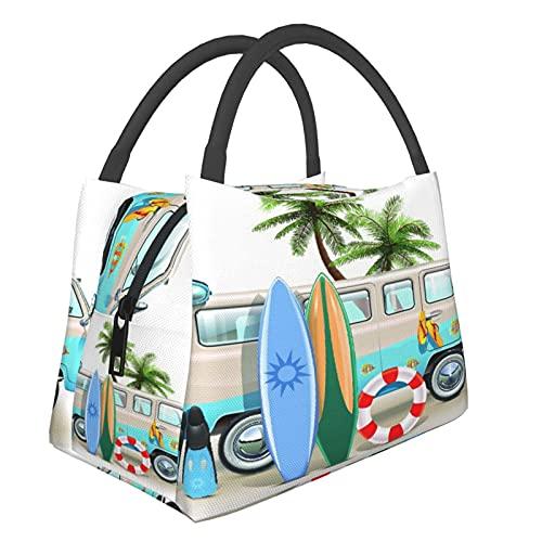 Aislado Bolsa de Almuerzo,Concepto de fin de semana de surf con elementos de buceo, aletas, snorkel y viaje en furgoneta, relaja,Bolsa de Enfriamiento Bolsa de Picnic para Viajes de Trabajo y Escuela