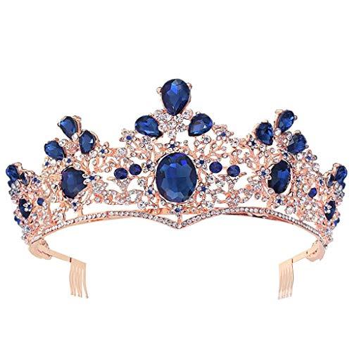 goneryisour The New Barock Royal Queen Gold Hochzeit Krone – Braut Kristall Prinzessin Tiara Stirnband Haarreifen Kopfschmuck Haarschmuck Blau