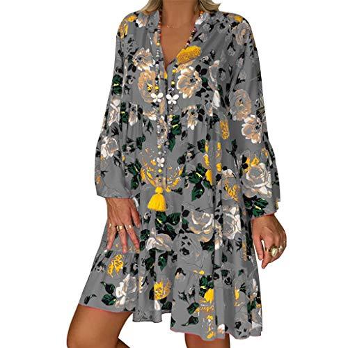 LOPILY Frauen Große Größen Blumenmuster Kleider Boho Stil Übergröße Sommerkleider Blumendruck Knielang Kleid Kurzarm Kleid Tunika Swing Kleid (Grau,44)