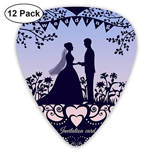 Gitarrenplektren Hochzeit Romantische Einladungskarte mit Silhouette 12-teiliges Gitarren-Paddel-Set aus umweltfreundlichem ABS-Material, geeignet für Gitarren, Quads, etc.