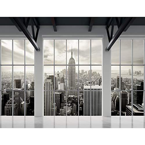 Fototapete Fenster nach New York Vlies Wand Tapete Wohnzimmer Schlafzimmer Büro Flur Dekoration Wandbilder XXL Moderne Wanddeko - 100% MADE IN GERMANY - NY Stadt Runa Tapeten 9187010a