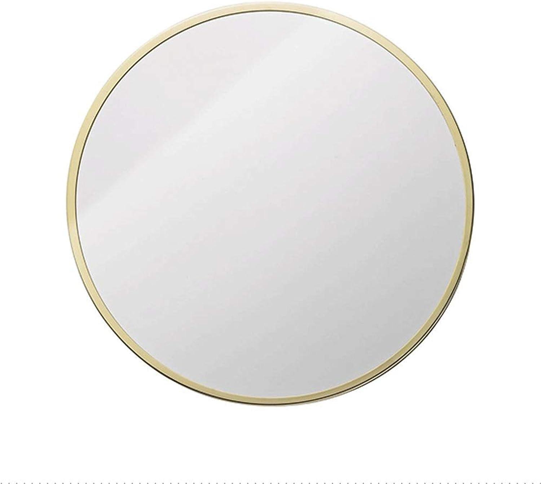 HELIn Modern Luxury Hotel Bathroom Decorative Antique Round Wall Mirror (color   gold, Size   50cm)