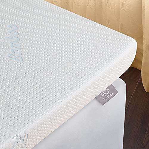 Emolli Memory Foam Mattress Topper - High Density Gel Infused Memory Foam Bed Pad, 3 inches, King