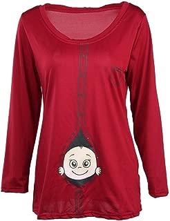 Transer- Womens Plus Size Maternity Funny Baby Peeking Pattern Long Sleeve T-Shirt Tops Blouses