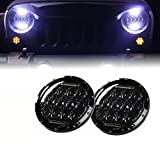 Xprite 7' Inch Round 75W 9000 Lumens Hi/Lo Beam Cree LED Headlights With Daytime Running Light (DRL) for Jeep Wrangler JK TJ LJ 1997-2018 (DOT Approved)