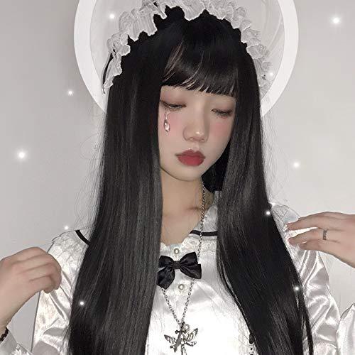Perruque Femmes Bang Air synthétique cheveux Color Mix Harajuku cosplay perruque 100% de fibres à haute température Postiches (Color : Long straight,