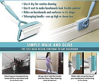 FidgetFidget Baseboard Buddy Cleaning Mop Simply Walk &Glide Extendable Microfiber Dust Brush