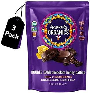 Heavenly Organics Double Dark Chocolate Honey Patties(3 Bags) - 100% Organic Cocoa - 100% Organic Raw White Honey; Non-GMO, Fair Trade, Kosher, Dairy & Gluten Free, No Sugar Added